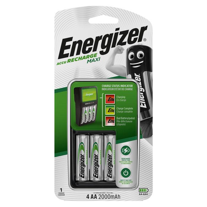 Φορτιστής μπαταριών 4 θέσεων Energizer ΜΑΧΙ + 4 επαναφορτιζόμενες μπαταρίες ΑΑ