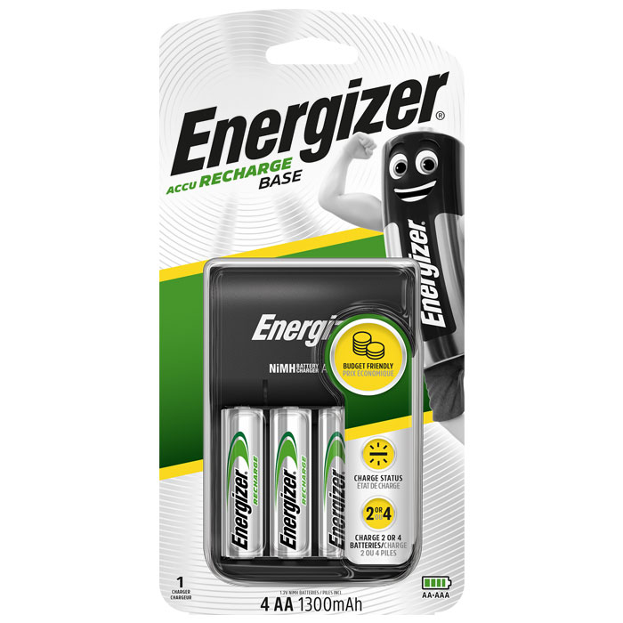 Φορτιστής μπαταριών 4 θέσεων Energizer Βase + 4 επαναφορτιζόμενες μπαταρίες ΑΑ