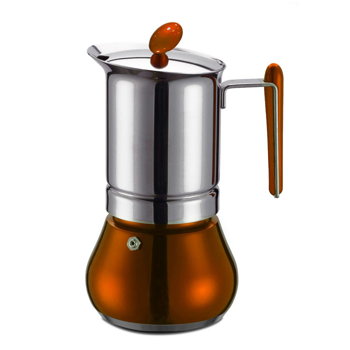 Ιταλική καφετιέρα espresso GAT 251002 COPPER ANNETTA 2 CUPS INOX