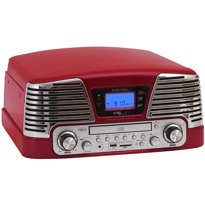 Ρετρό Πικάπ / Ραδιόφωνο / CD / MP3 / USB με κωδικοποιητή MP3 Big Ben TD79RM RED