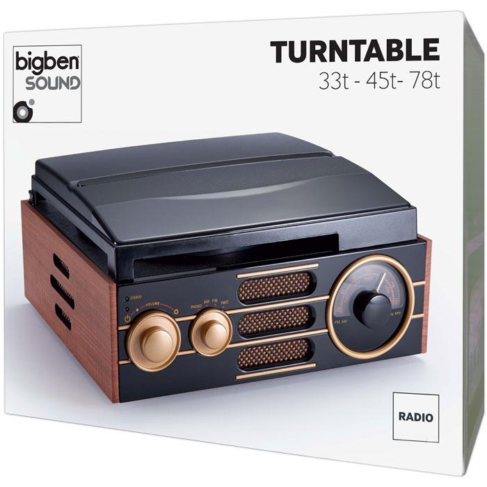 BIGBEN TD101 WOODEN RETRO RADIO/TURNTABLE BIG BEN