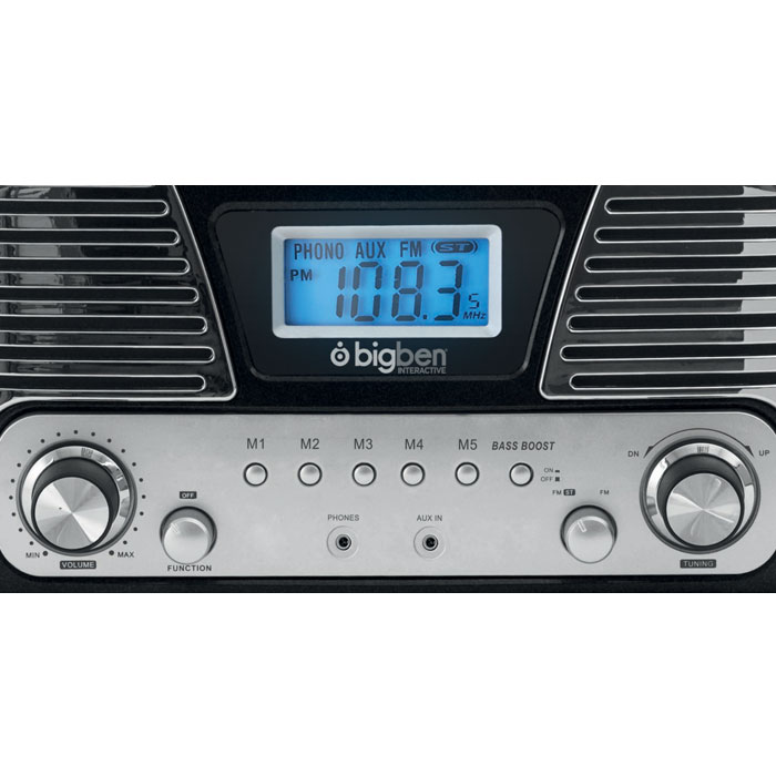 BIGBEN TD016NM BLACK RETRO RADIO/TURNTABLE BIG BEN