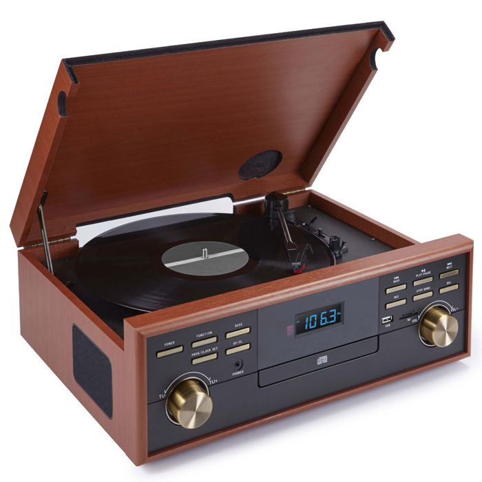 BIGBEN TD113 WOODEN RETRO RADIO/TURNTABLE/CD/MP3/USB/TAPE BIG BEN