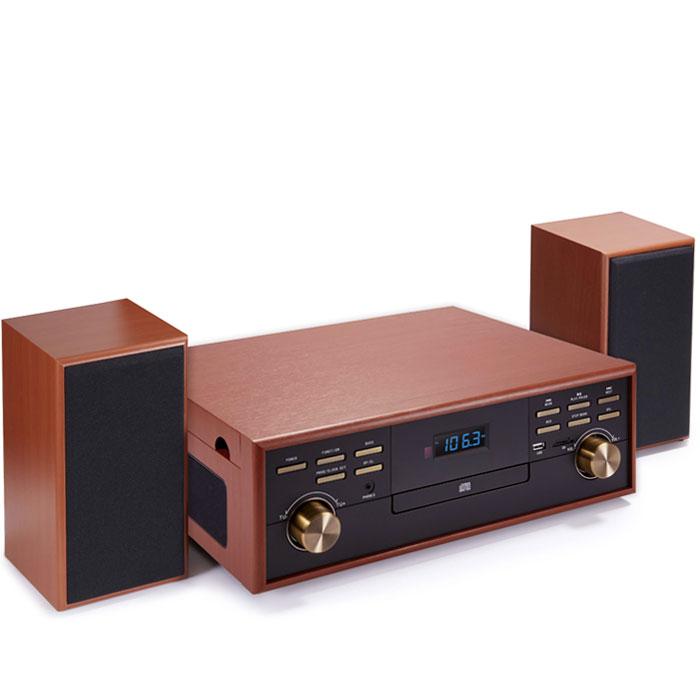 BIGBEN TD113SPS WOODEN RETRO RADIO/TURNTABLE/CD/MP3/USB/TAPE (SPEAKER SET) BIG BEN