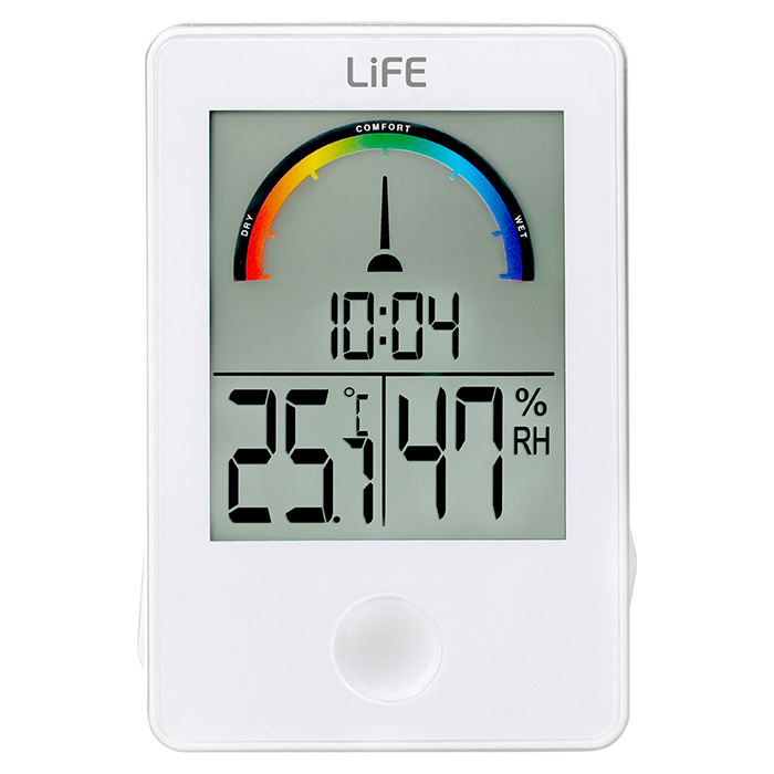 LIFE WES-101 Thermometer/hygrometer White with clock LIFE